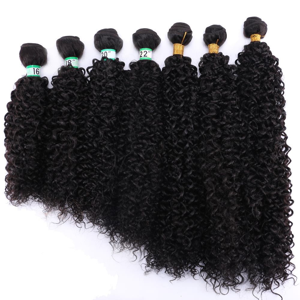 Pure Color Stretched Length 14-30 Inches Afro Kinky Curly Hair Weave Black Brown Golden Synthetic Hair Extension For Women