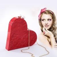New heart shaped portable fashion joker evening bag banquet bag lady's acrylic clutch bag