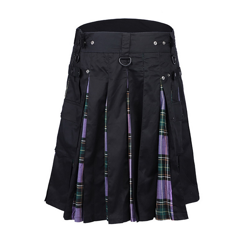 Scottish Mens Kilt Traditional Plaid Belt Pleated Bilateral Chain Brown Gothic Punk Scottish Tartan Trousers Skirt Streetwear