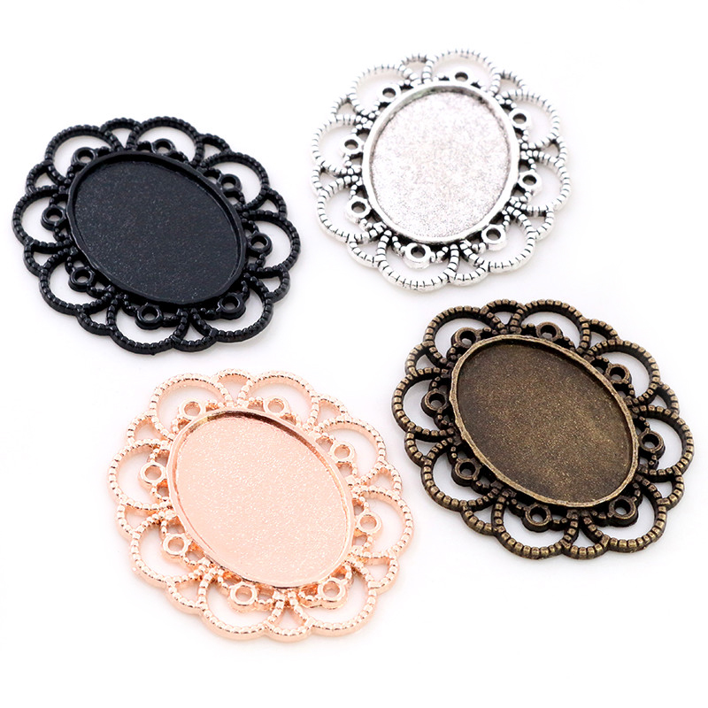 10pcs 18x25mm Inner Size 4 Colors Flowers Style Cameo Cabochon Base Setting Pendant Necklace Findings