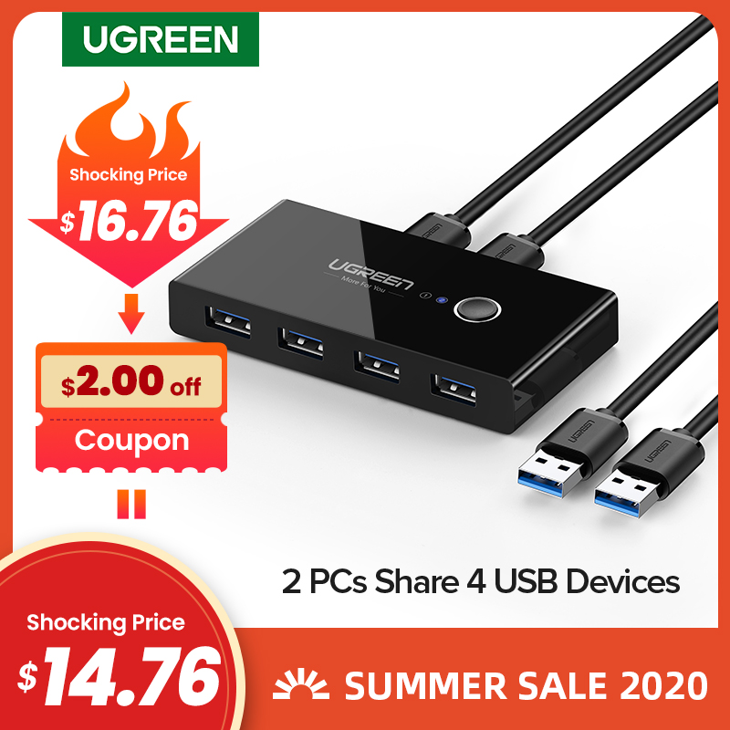 Interruptor usb 3.0 2.0 ugreen, 4 dispositivos para teclado e mouse, monitor de impressora interruptor selector|kvm switch|usb switchkvm switch box - AliExpress