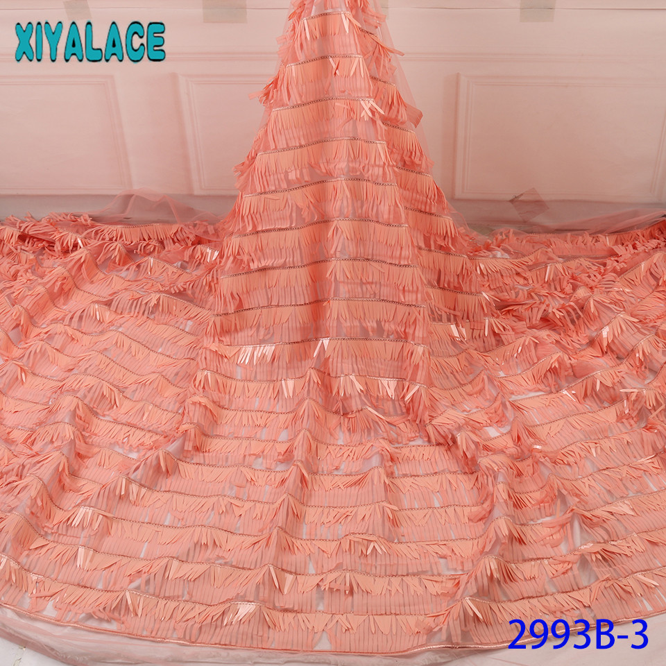 New Sequence Lace Fabric,fashion Aso Ebi Lace,2019 Peach Lace Fabric,French Bridal Lace Fabric With Big Sequins KS2993B-3