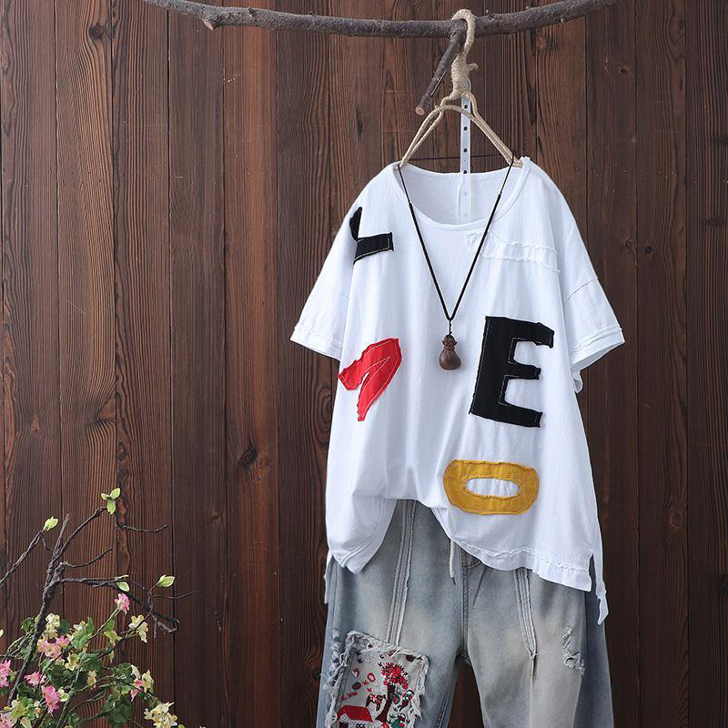 2020 Summer New Arts Style Women Short Sleeve Loose T-shirt Appliques Letter O-neck Casual Tshirt Cotton Tops Plus Size S580