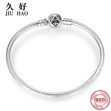 925 Sterling Silver Charm heart zircont Bow tie snake bone chain Bracelets diy for fashion jewelry womens accessories trendy