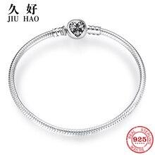 Colgante de Plata de Ley 925 con forma de corazón, pulsera con cadena de hueso de serpiente y lazo, para mujeres