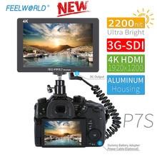 FEELWORLD P7S 7 дюймов 2200nit ультра яркий 3G-SDI 4K HDMI DSLR камера полевой монитор алюминиевый дизайн для SONY Nikon Canon Filmmaker