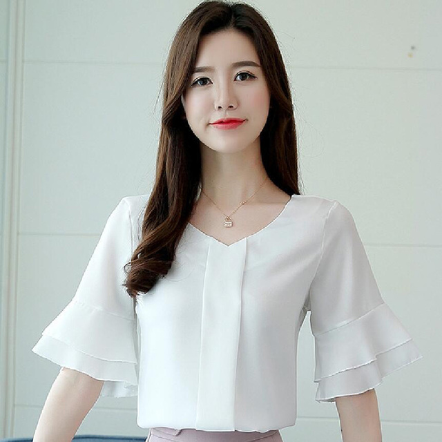 Womens Tops And Blouses Summer Flare Sleeve Chiffon Blouse Shirt Women Tops Ladies Work Wear Office Blusa Feminina Shirts 2