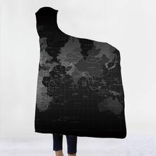 Soft Blanket For Adults World Map 3d Printed Hooded Sherpa Winter Warm Throw With Hat Hoodie Travel Mantle