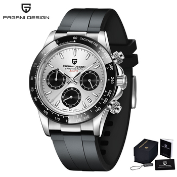 2020 New PAGANI DESIGN Mens Quartz Watches Automatic Date Luxury Gold Wristwatch Men Waterproof Chronograph Japan VK63 Clock man - Sliver grey, China
