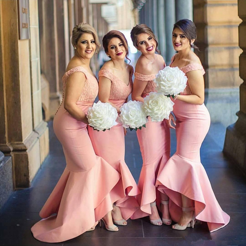 Pink Cheap Bridesmaid Dresses Under 50 Mermaid Off The Shoulder Lace High Low Long Wedding Party Dresses