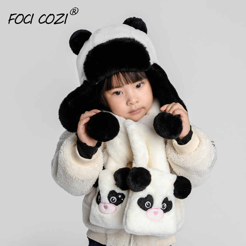 2019 New Faux Fur Panda Set Cap Scarf Children Animal Winter Hats Scarf For Kids Scarf Winter Ushanka Russian Hat Earflap Girls