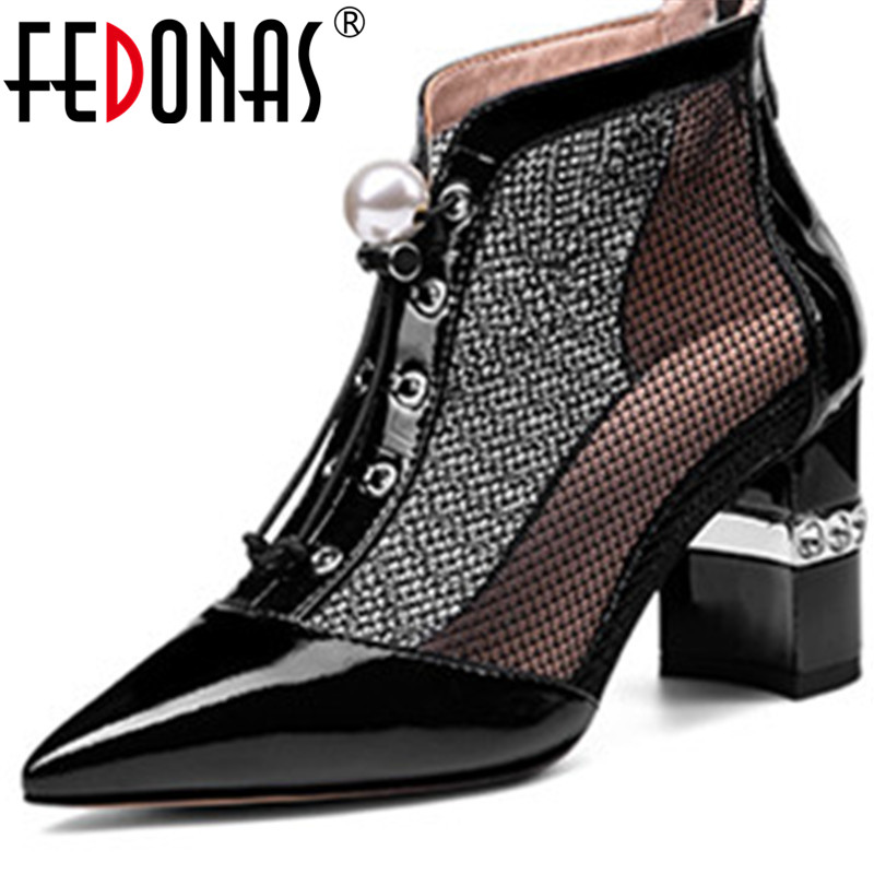 FEDONAS Brand Design Spring Summer Cow Patent Leather Rhinestone Women Pumps Office Ldy Point Toe High Heeled New Shoes Woman
