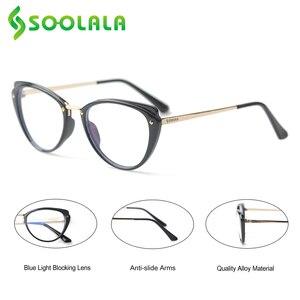 Image 4 - SOOLALA 안티 블루 라이트 고양이 눈 합금 독서 안경 여성 클리어 렌즈 안경 노안 안경 0.5 0.75 1.25 1.5 1.75 to 5.0