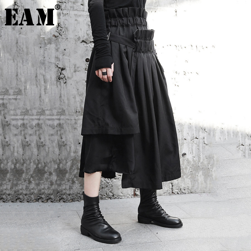 [EAM] High Elastic Waist Asymmetrical Black Pleated Spliced Half-body Skirt Black Women Fashion New Spring Autumn 2020 JI083