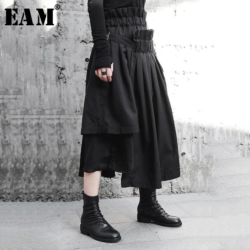 [EAM] High Elastic Waist Asymmetrical Black Pleated Spliced Half-body Skirt Black Women Fashion New Spring Autumn 2020 JI083