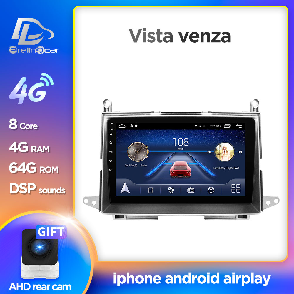 4G LTE Net Navigation  Player Android 8.1 System Stereo For Toyota Vista Venza 2009-2013 Years Gps Multimedia Player Radio