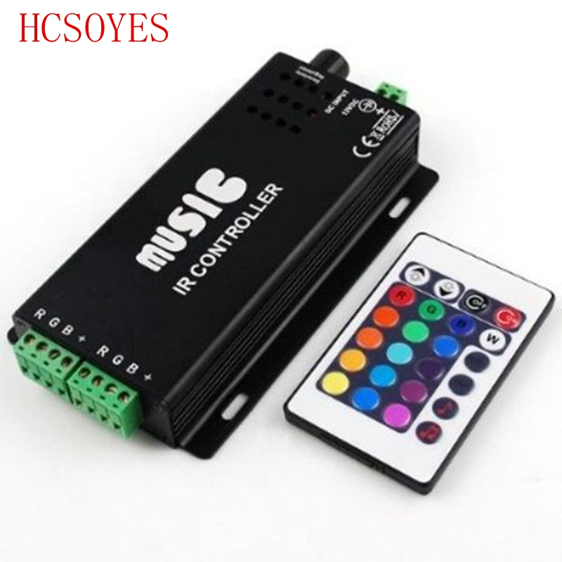 DC12-24V 24Keys Music Controller 3 Channels IR Remote RGB Controller Sound Sensitive For 5050 3528 Led Strip Light Lamp