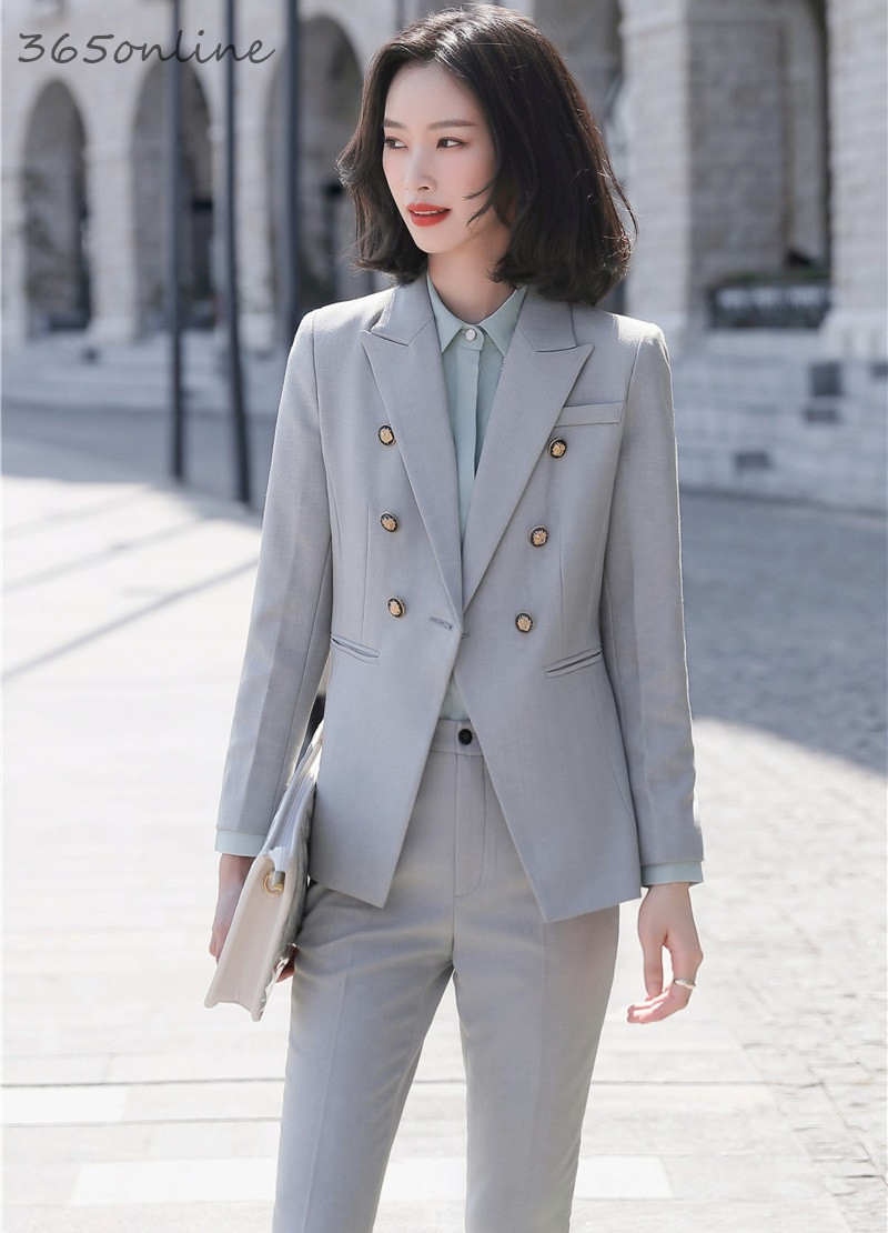 Ladies Office Fashion Styles Spring Summer Work Wear Business Suits With 2 Piece Set Pencil Pants And Tops Blazers Office Set
