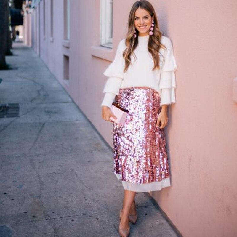 2020 Spring Skirts Pink Sequin Skirt Custom Made Faldas Sequined Skirts For Women Ankle Length Saias