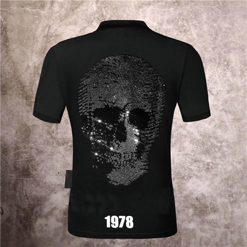Sportswear Polo-Shirt Short-Sleeve Corta Hombre Men's Plein Black Top-Street Skull Manga