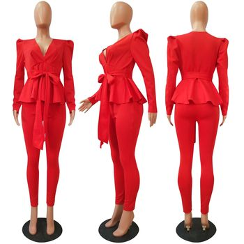 Mirsicas Bow Ruffle Fashion Casual Two Piece Set Office Lady Business Suit