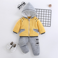 Autumn Winter Children Boys Girls Fashion Clothing Sets Baby Cartoon Hooded Jacket Pants 2Pcs/sets Infant Add Cotton Tracksuits