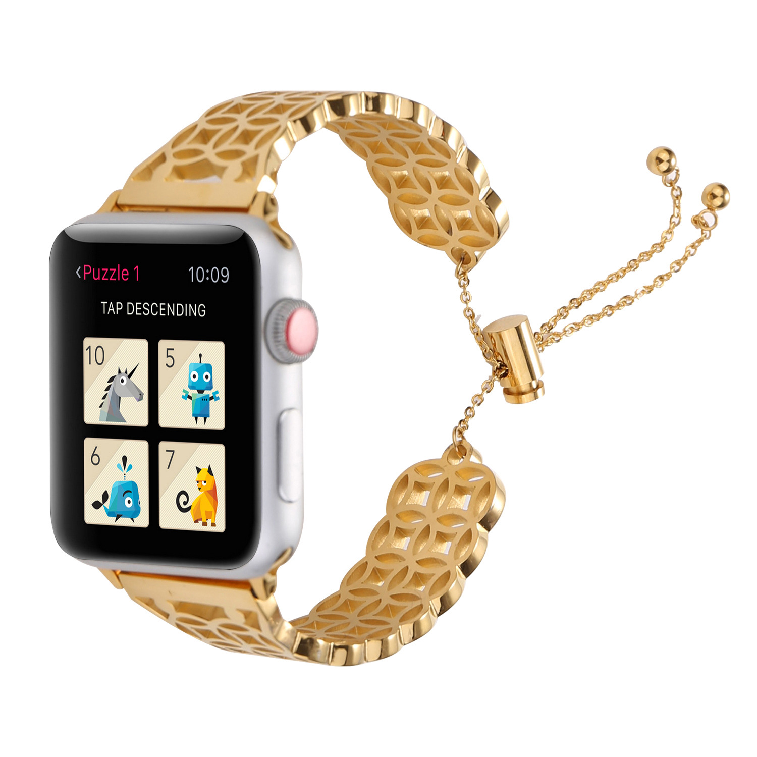 Applicable APPLE Watch Bracelet Watch Strap Apple Watch Strap Stainless Steel On Ancient Coins Graphics Watch Strap