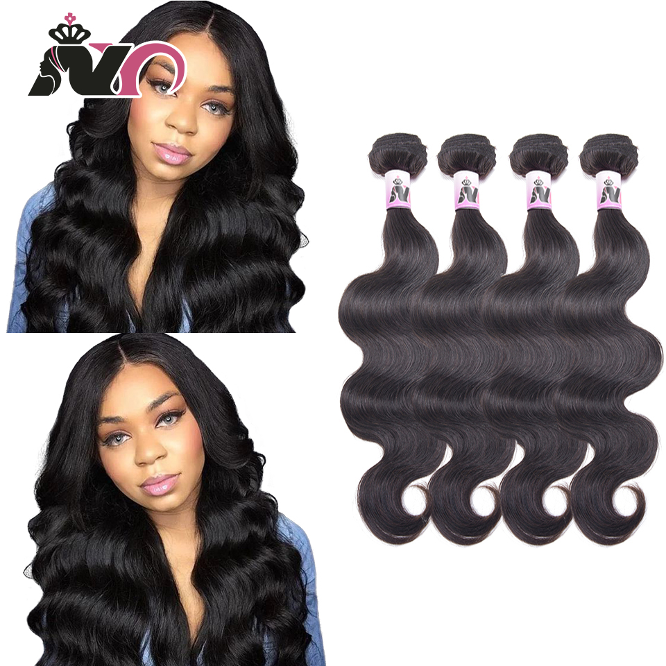 NY Hair Malaysia Body Wave 4 Bundles 100% Human Hair Weave Natural Black Non Remy Hair Bundles 8-30 Inch 4 Pcs Bundles Deals