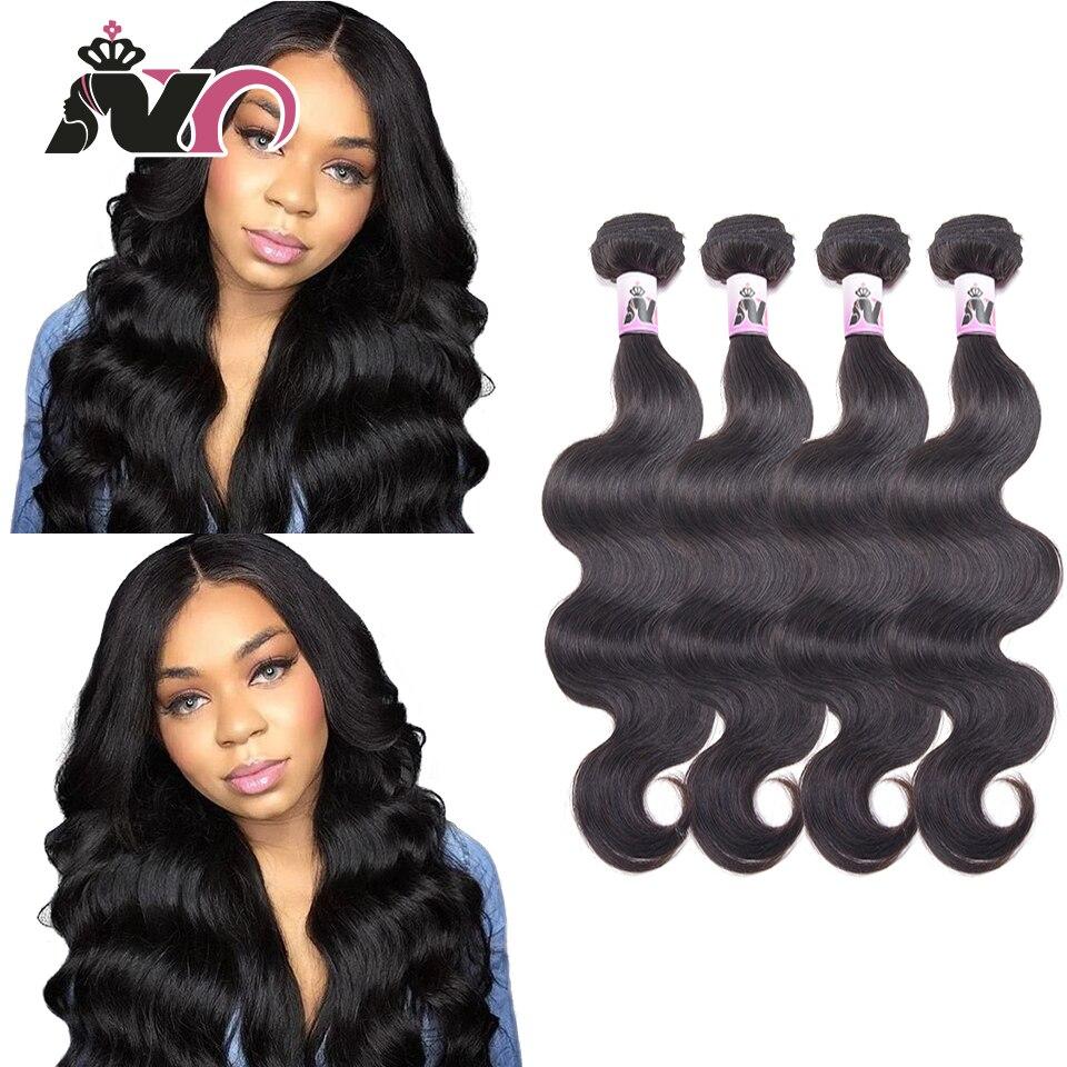 NY Hair Malaysia Body Wave 4 Bundles 100% Human Hair Weave Natural Black Non Remy Hair Bundles 8-30 Inch 4 Pcs Bundles Deals