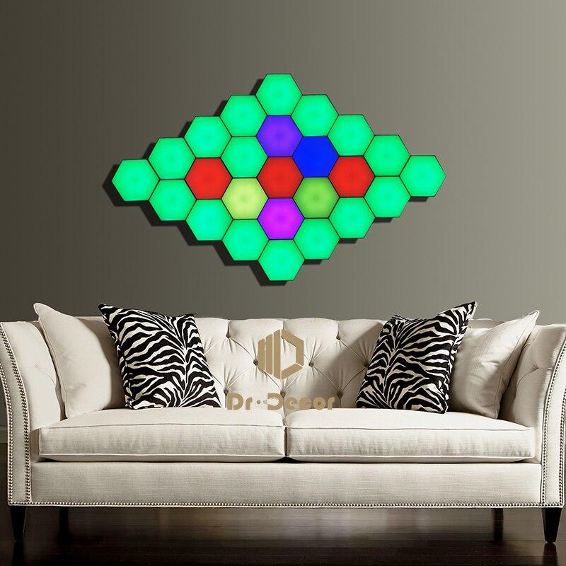 Nordic RGB LED lampka nocna do wystroju domu Quantum modułowa lampa dotykowa Helios oświetlenie wewnętrzne nocne światła magnetyczne