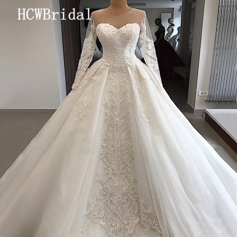 Real Photos Luxury Dubai Wedding Dresses With Long Sleeves Beaded Lace Princess Bridal Dress Customize Wedding Party Gowns