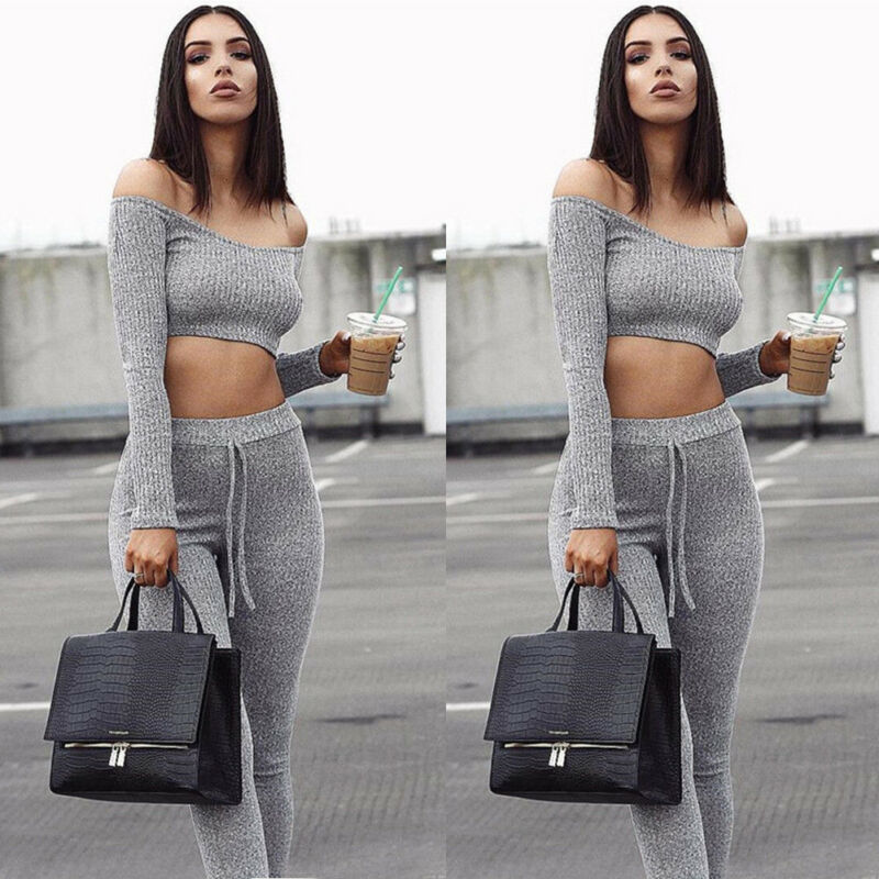 2019 New Fashion Womens Set Off Shoulder Long Sleeve Crop Tops Lace Up Long Pant Solid Color 2Pcs Casual Slim Early Autumn Set