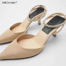 Lmcavasun sandálias de cinta feminina salto grosso 2020 moda verão femal apontou dedo do pé estilingue sandálias senhoras projetos