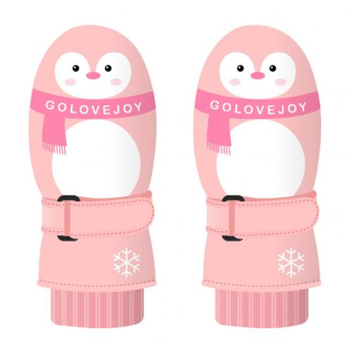 Детские зимние теплые перчатки с милым рисунком, детские лыжные перчатки для сноуборда, спортивные перчатки, варежки, водонепроницаемые ветрозащитные перчатки для катания на лыжах - Цвет: Pink Penguin