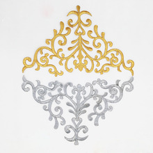 Iron On Gold Appliqued Violin Embroidery Fabric Applique Gold Metallic Patches Gold silver