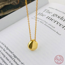 925 Sterling Silver Golden Geometric Pendant Necklace Simple Fashion Party Jewelry Accessories Friendship Gift