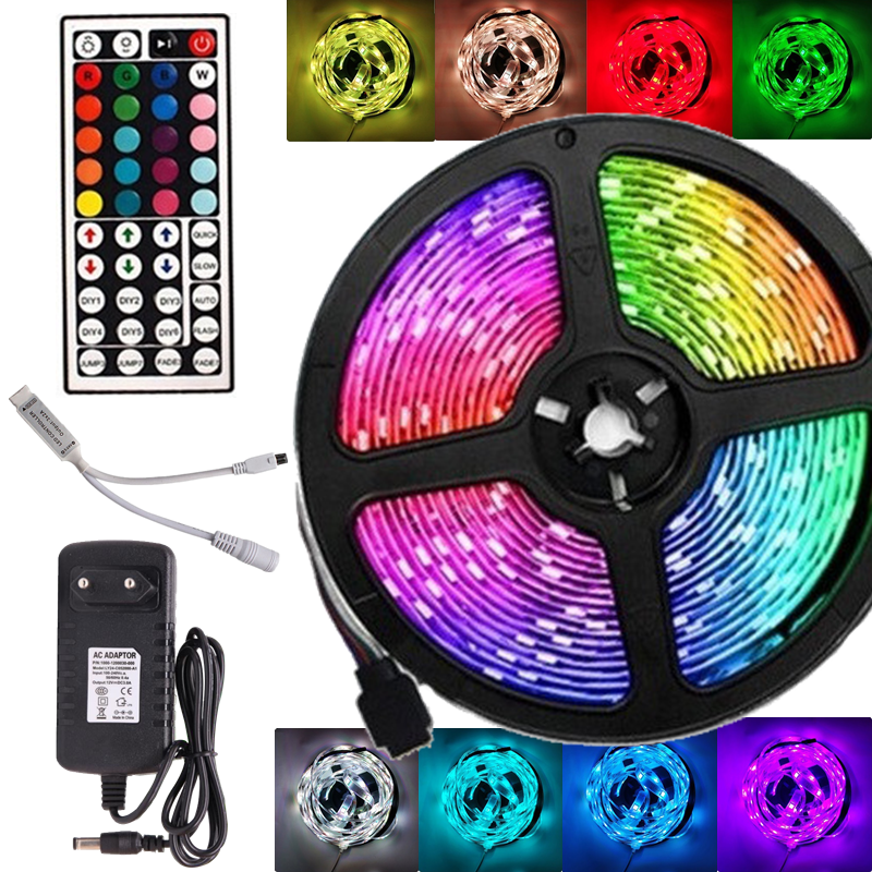 LED Strip Light RGB 5050 SMD 2835 Flexible Ribbon Luces Led Light Strip RGB 5M 10M Tape Diode DC 12V Remote Control Adapter