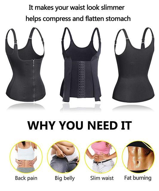Sauna Sweat Vest Waist Trainer Women Body Slimming Trimmer Corset Workout Push Up Fat Burning Tummy Belly Girdle Bodysuit S-2XL 2
