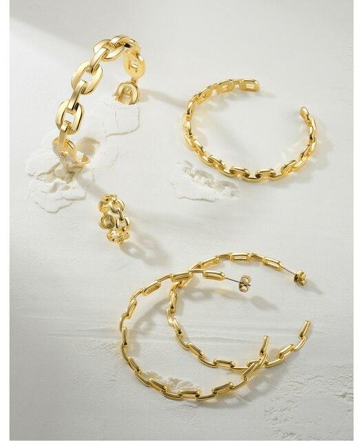 Женские круглые серьги кольца enfashion из звеньев с цепочкой