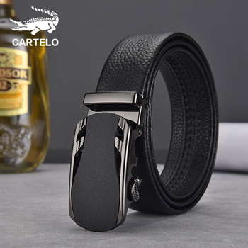CARTELO Fashion Luxury Cow Genuine Alloy Buckle Belt Classic Leather Belt for Men Men Genuine Leather Belt Automatic 2018 genuine cow leather men