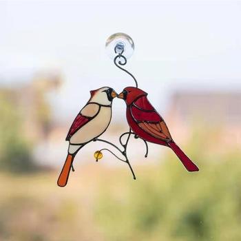 Dropship piękne gałęzie czerwone ptaki witraże ozdoby odkryty duszpasterski ogród okno wisząca dekoracja ogrodnictwo w domu tanie i dobre opinie CN (pochodzenie) C6UC9FF502119-4