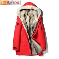 2020 Parka Real Coat Men Winter Jacket Natural Wolf Fur Coats Warm Outerwear Long Parkas Hombre 17029 B22425