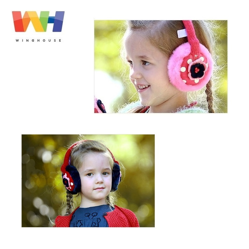 South Korea Winghouse Children Earmuffs Cute Flowers Decorated Earbags Girl Plush Earflaps Winter Headphones Warm Ear Cover
