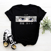 Hunter X Hunter T-Shirt Female Anime Killua Zoldyck Devil Eye Tee Shirt Women Short Sleeve Casual Kurapika HxH Devil Eye T Shirt