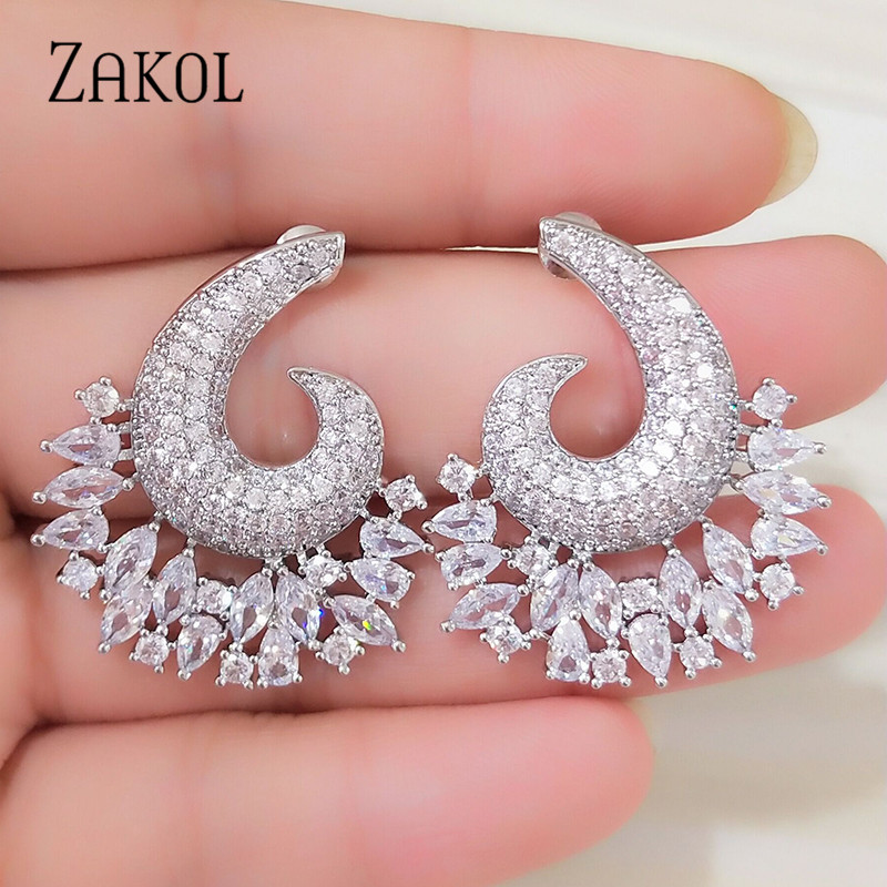 ZAKOL New Luxury Cubic Zircon Big Flower shape Women Stud Earrings for Elegant Bridal Wedding Party Dress Jewelry FSEP2116