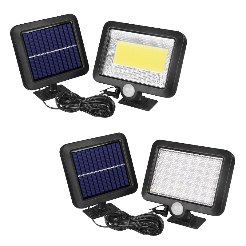 Cob 100 Led Solar Light Outdoors Solar Tuin Licht Pir Motion Sensor Split Solar Wandlamp Schijnwerpers Security Emergency