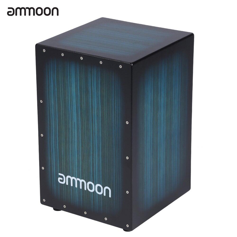 Ammoon boîte en bois tambour Cajon main tambour Persussion Instrument bois avec piqûres caoutchouc pieds 30*31*48 cm