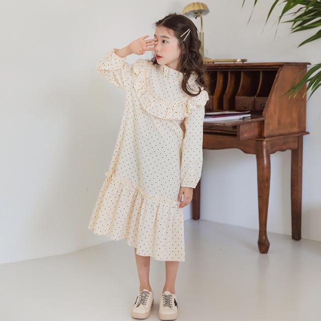 Nowy 2020 dziecko księżniczka sukienka nastoletnia sukienka na jesień dzieci śliczna sukienka sukienka dla dziewczynek wypoczynek maluch sukienka w kropki bawełna, #5092