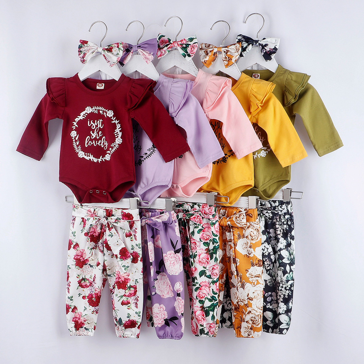 US Newborn Infant Baby Girl Floral Clothes Romper Pants Leggings Headband Outfit