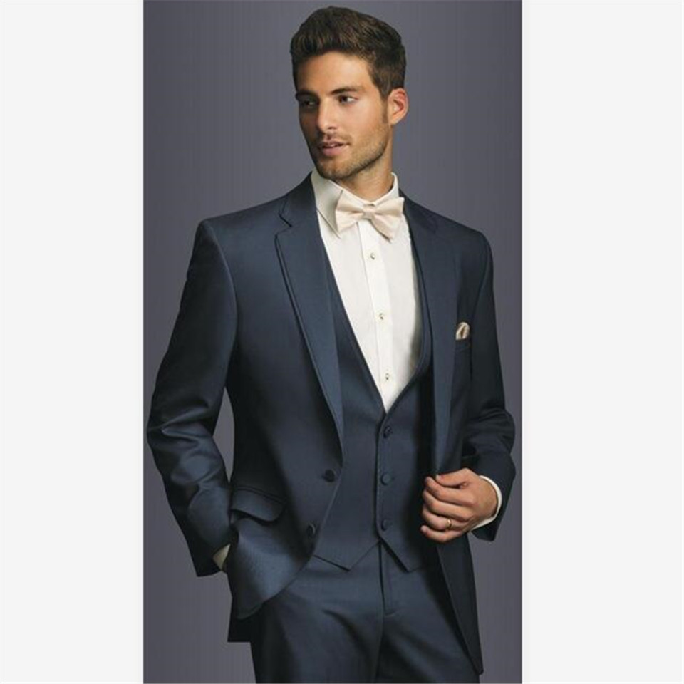 New Classic Men's Suit Smolking Noivo Terno Slim Fit Easculino Evening Suits For Men Navy Two Buttons  Groom Tuxedos Groomsman